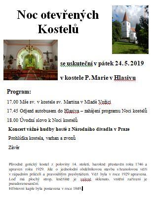 Noc otevřených kostelů 2019 Kostel P. Marie Hlasivo