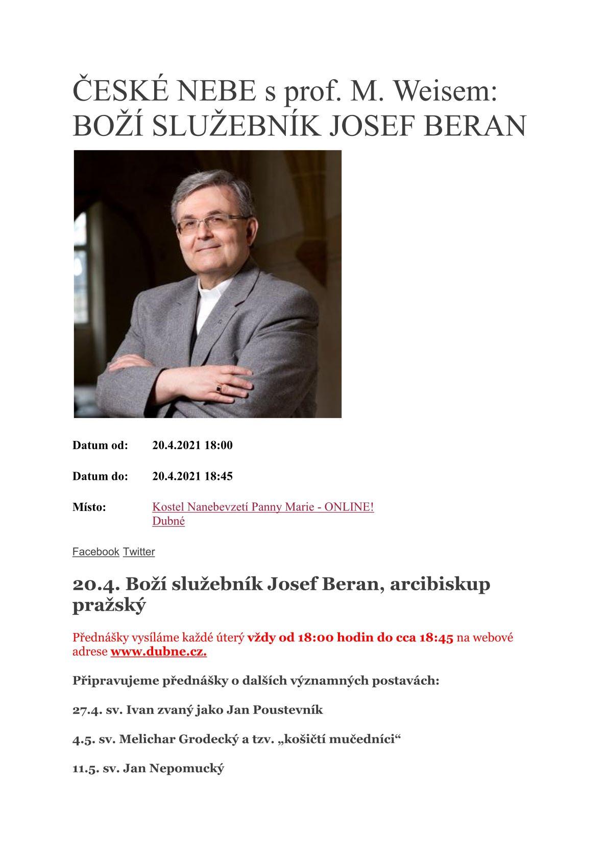Přednáška kardinál Josef Beran